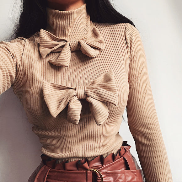 Casual Long Sleeve Women Tops and Shirt Solid Color Turtleneck Bow Skinny Long Sleeve Women Blouse Women Clothing