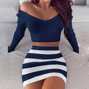 Striped V Neck Slim Knit Soft Summer Dress Women 2020 Spring Off the Shoulder Long Sleeve Mini Dress Elegant Ladies Party Dress
