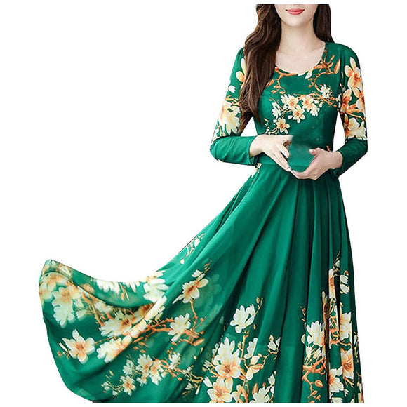 Women O-Neck Long Sleeve Dresses Ladies Floral Print A-line Dress Spring Vintage Clothes Girl Slim Casual Party Dress robe femme