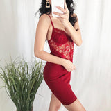 Women Summer Sexy Red Lace Backless Hollow Out Bodycon Mini Dress Elegant Ladies Spaghetti Strap Party Club Dresses Sundress