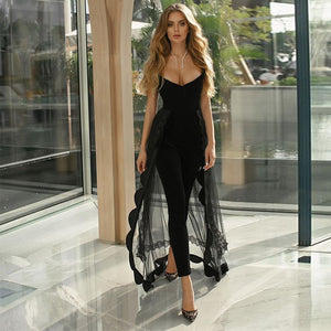 Runway New Fashion Lace Bodycon  Jumpsuit 2020 Summer Women Black Bodycon Jumpsuit Bodycon Sexy Club Party Jumpsuit