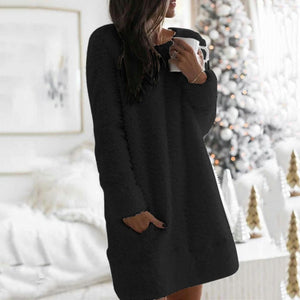 Winter Plush Women's dress Fashion Long Sleeve dresses for women Casual Round Neck Cotton-Blend mini dress vestido de mujer