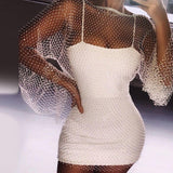 Newest Fashion 2020 New Arrivals Sexy Diamonds Sparkly Black White Long Sleeve Transparent Elegant Night Club Party Dress - Swans Today