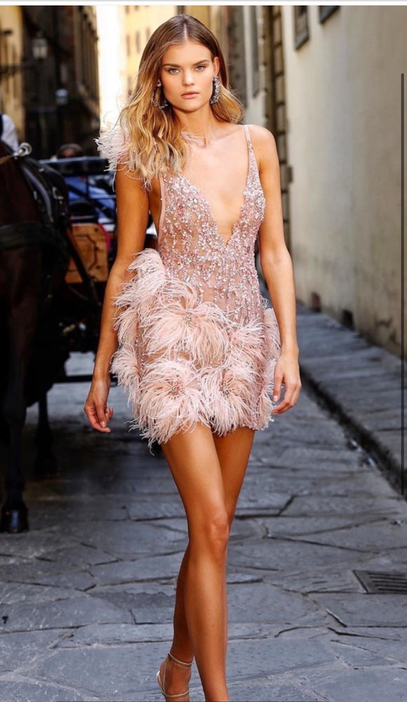 High Quality Pink Mini Feather V-neck Fashion Bodycon Dress Night Club Party Bodycon Dress