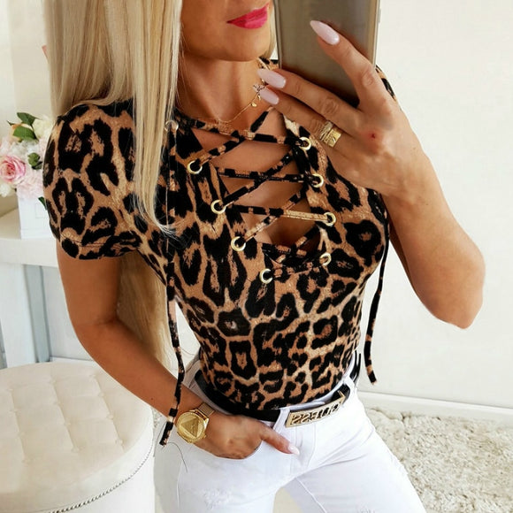 Summer Sexy Tops and Blouse Low Cut Leopard Printed Bandage Short Sleeve Women Blouse Womens Tops and Blouses