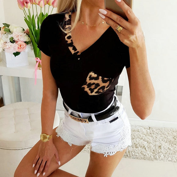 Fashion Leopard Patchwork Black and White V Neck Women Blouse  Short Sleeve Women Blouse Casual Tops and Shirt Summer Tops