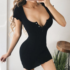 Solid Nude Summer Dress 2020 New Arrivals Sexy Short Sleeve Yellow Black Bodycon Elegant Evening Party Dress