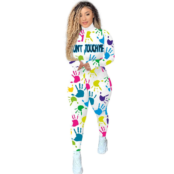 CM.YAYA Workout Knitted Ribbed Don't Touch Print Rompers Women Jumpsuit Zipper Moto Biker Long Sleeve Fitness Bodycon Skinny - Swans Today