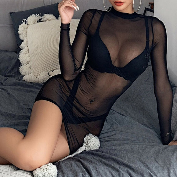 Transparent Sexy Dress Women's Sheer Mesh See-through Long Sleeve Dresses Crop Tops Casual Clubwear Mini Dress Sexy Lingerie #3