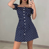 Short Polka Dot Dress 2020 Women Long Dress  V Neck Short Sleeve Floral Beach Dresses With Belt Vestidos