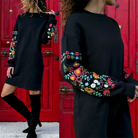 Dress Women Floral Print Long Sleeve O-Neck Loose thin Warm sexy Dresses Elegant multicolor Black mujer Autumn vestido 2019 #111
