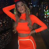2019 Autumn New Fashion Reflect Striped Solid Color Orange Green Turtleneck Hollow Out Top And Buttock Skirts Casual Sets - Swans Today