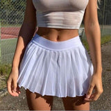 2020 New Tenny Skirt A-line White High Waist Mini Tennis Skirt Ruffle Casual Skirt Womens Summer Overall Skirt Tennis Skorts - Swans Today
