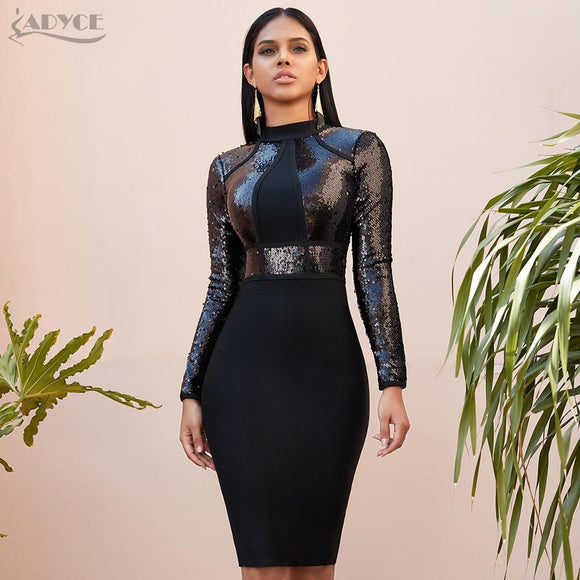 Adyce 2020 New Winter Sequined Long Sleeve Bandage Dress Sexy Bodycon Club Black Celebrity Evening Runway Party Dresses Vestidos - Swans Today