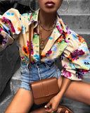 STYLISH LADY Lantern Sleeve Floral Printed Shirt 2020 Autumn Women Casual Cardigan Street Office Lady Shirt Blouses - Swans Today