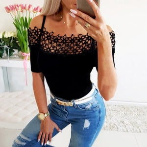 2020 Fashion Sexy Off Shoulder Lace Hollow Out Short Sleeve Women Blouse Sexy Slash Neck Short Sleeve Women Tops and Shirt
