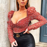 Womens Sexy Polka Dot Blouse 2020 Long Puff Sleeve Slim Fit Shirt Casual Blouse U Neck Crop Top 2020
