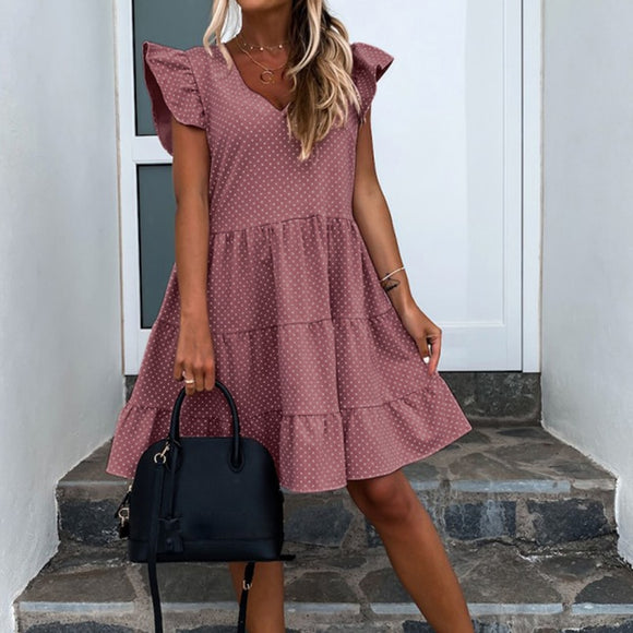 Summer Casual Polka Dot V Neck Ruffled Short Sleeve Women Summer Dress Sexy Women Dress