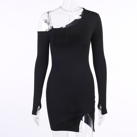 Winter Fashion 2020 Sexy Long Sleeve Chain Split Black Women Dress Elegant Bodycon Evening Party Dress Vestidos - Swans Today