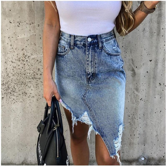 Brand New Woman Trendy Retro Washed Irregular Denim Skirt Female Summer High Waist Denim Skirts Elastic Bodycon Hip Saia jeans - Swans Today