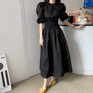STYLISH LADY Elegant Puff Sleeve Dress 2020 Summer Women O Neck Elastic Waist Chiffon Office Lady Chic French Style Long Dress