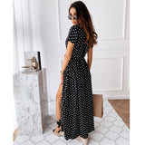 Polka Dot Summer Long Dresses 2020 V-Neck Long Dresses Ladies Summer Dress 2020 Casual Party Sexy Split Summer Dresses