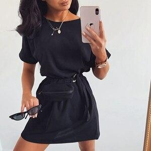 STYLISH LADY Casual Dress with Waist Bag 2020 Summer Women Short Sleeve O Neck Loose Club Party Street Sporty Mini Dress - Swans Today