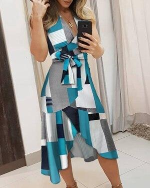 STYLISH LADY Contrast Color Elegant Dress 2020 Summer Women Sleeveless V Neck Bandage Party Office Lady Midi Irregular Dress - Swans Today
