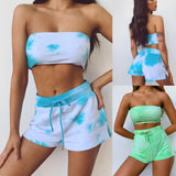 Fashion Sexy Tie Dye Strapless Crop Tops Elastic Waist Women Shorts Two Pieces Women Sets Womens Tracksuit Set Sweatsuits Sets