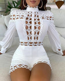 STYLISH LADY Lattice Hollow Out Playsuits 2020 Summer Women Long Sleeve Stand Neck Bodycon Club Party Elegant Rompers Jumpsuits - Swans Today