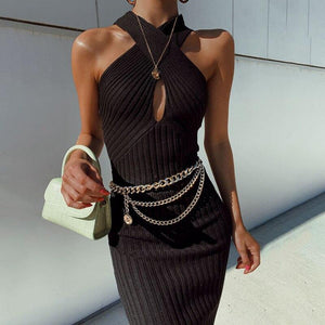 Summer Dress 2020 New Arrivals Sexy Off Shoulder Key Hole Black White Elegant Evening Party Dress - Swans Today