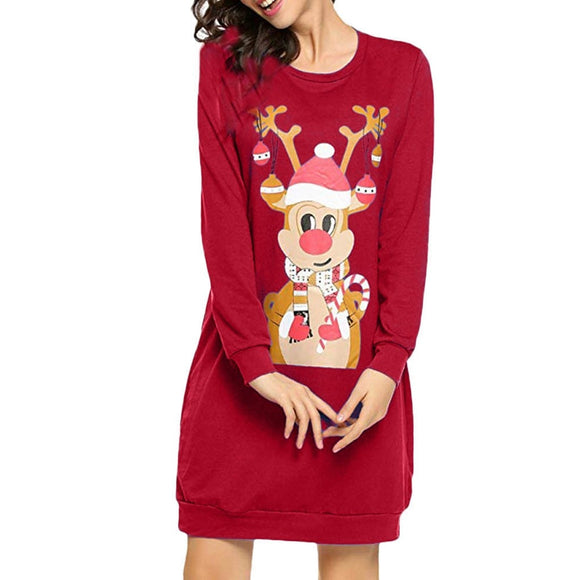 Women Christmas Print Elk Character Long Sleeve Dress Ladies Mini Dress Vestido De Mujer Sukienka Платья Для Женщин Платье @40