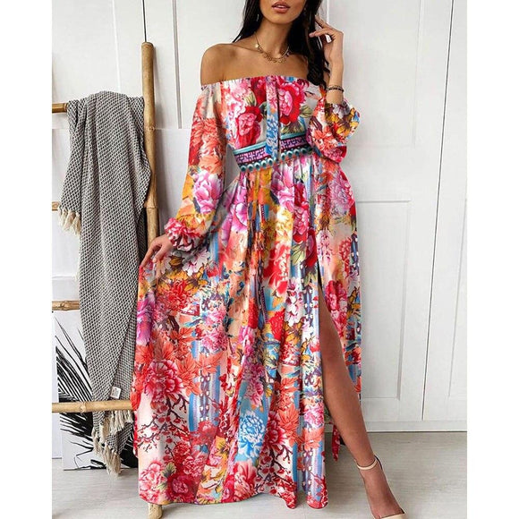 STYLISH LADY Vintage Printed Split Dress 2020 Summer Women Long Sleeve Off the Shoulder Slash Neck Beach Boho Long Maxi Dress - Swans Today