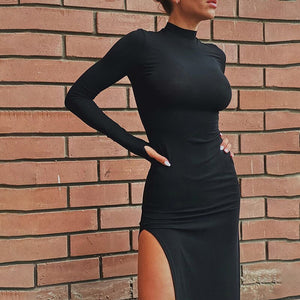 WannaThis Sexy Knee-Length Party Dresses Turtleneck Solid Side Split Long Sleeve Autumn Mock Neck Elegant Dresses Skinny Casual
