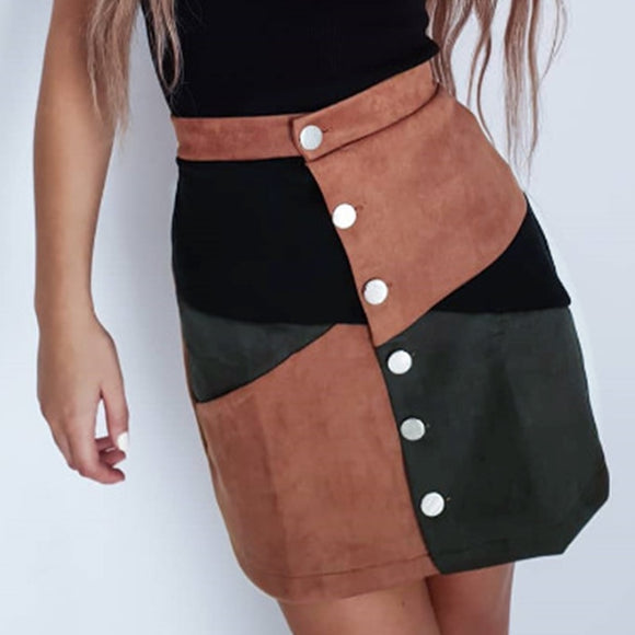 Fashion Casual Plaid Printed Button Women Mini Skirt Casual Women Plaid Skirt Women Streewear