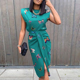 STYLISH Lady Butterfly Printed 2 Piece Set Women Sleeveless Top and Tied Split Midi Skirt Set 2020 Summer Elegant OL Outfits