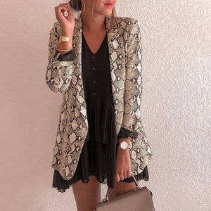 Fashion Thin Jacket Sexy Snake Print Long Sleeve Coat Elegant Women Open Stitch Outerwear Clothes Streetwear Dropshipping