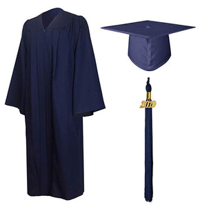 Size Note Unisex 2019 Long Sleeve Formal Graduation Gown Tassel Cap Set High School Students and University Bachelor Clothes