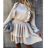Women Autumn Long Sleeve Ruffles Dress 2020 Solid Winter Slim Casual Backless Dress Elastic Waist A Line Pink Party Vestidos