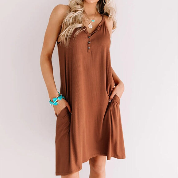 Fashion Casual Solid Color V Neck Short Sleeve Loose Women Dress Short Sleeve Summer Dress Women