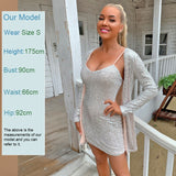 Sequin Mini Dress 2020 Glitter Sexy Two Piece Set V Neck Long Sleeve Glitter Bodycon Dress 2020 Ladies Coat Short Skirt Set Club 2 Piece Set 2020