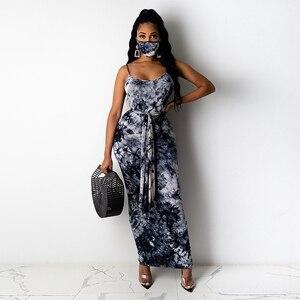 STYLISH LADY Tie Dye Printed Dress with Sash and Mask 2020 Summer Women Spaghetti Strap O Neck Backless Bodycon Sexy Long Dress - Swans Today