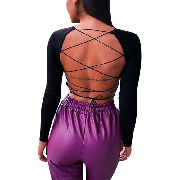 2020 Sexy Tops and Shirt Long Sleeve Women Blouse Solid Color Long Sleeve Skinny Backless Bandage Women Crop Tops