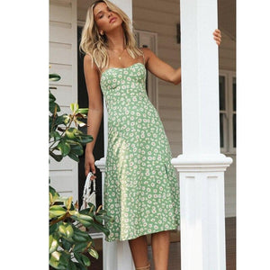 Boho Women Summer Sexy High Waist Long Dresses Ladies Green Pink Sleeveless Suspender Printed Split Dresses - Swans Today