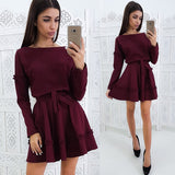 Ruffles Embellishment Sashes A-Line Women Dress Autumn Solid Color Long Sleeves Round Neck Casual Dress Mini Party Dresses