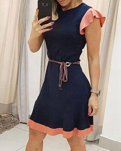 STYLISH LADY Ruffle Elegant Dress 2020 Summer Women Short Sleeve O Neck Bodycon Club Party Office Lady Patchwork Midi Dress