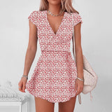 V Neck Floral Mini Dress 2020 Half Sleeve sexy mini dress Floral Print Bodycon Dress 2020