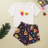 Fashion Burger Fries T-shirt Shorts 2 Pieces Women Sets  2 Piece Sets Womens Outfits Women Pajamas Sets Party Night Wear