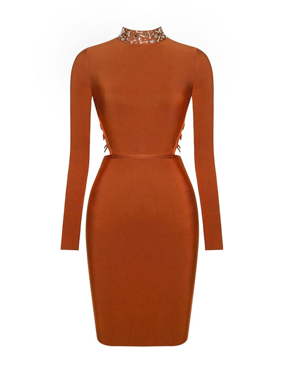 Winter Women Bandage Dress Fashion Bodycon O-Neck Long Sleeve Sexy Lace Up Backless Cocktail Party Club Dresses Vestidos