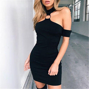 Charming Sexy Black Prom Dress 2020 Evening Party Bandage Bodycon Summer Off Shoulder Black Dress 2020 Solid Casual Short Mini Dresses - Swans Today